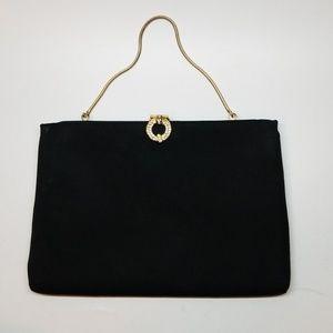 Black Vintage Jewel Accent HL Evening Handbag